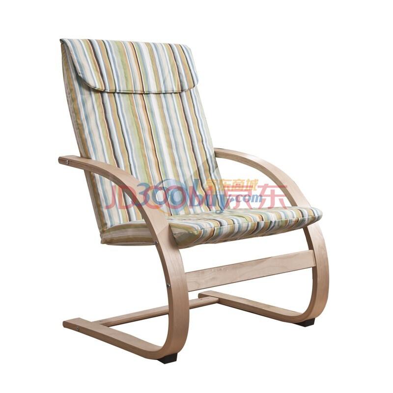 北欧实木弯曲椅曲木椅摇椅躺椅休闲椅MLYY A 04 条纹图片