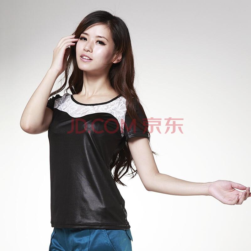 音曲女装 2012新款 时尚针织衫短袖打底衫YLQT1020 黑色 XL