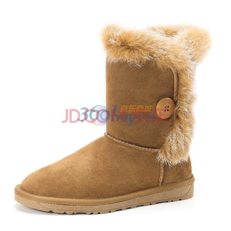 骆驼(CAMEL) 2013年冬季新款女款真皮雪地靴磨砂牛皮保暖毛里雪地靴 1101003 驼色 40