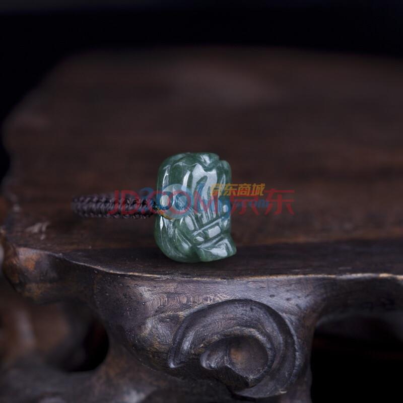 油青小貔貅戒指(附权威鉴定证书)赠编绳