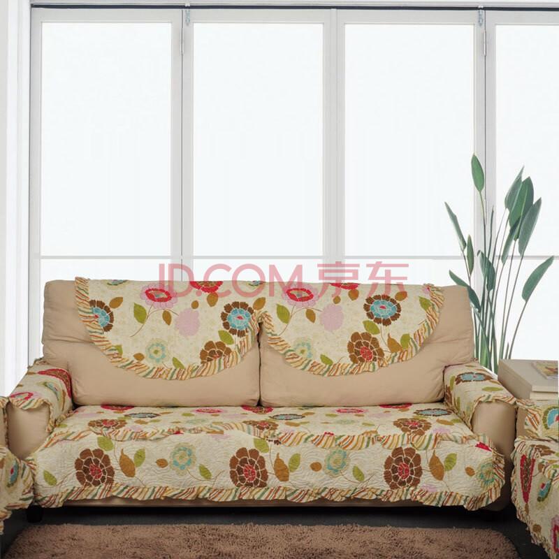 美客居 双人纯棉沙发坐垫布艺沙发巾飘窗垫70 150CM 田园沙发垫 时图片
