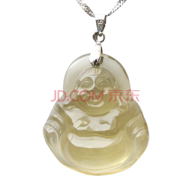 也流行 YEPOP 天然巴西黄水晶 黄水晶吊坠加水波纹银链 ...