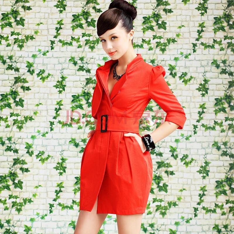 橘红色气质款中袖修身风衣外套