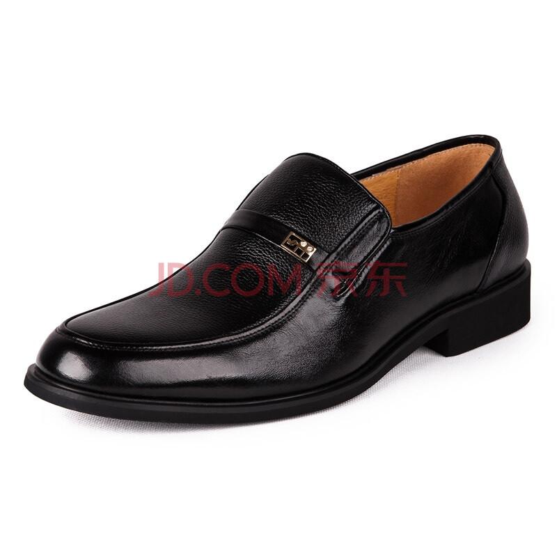 富贵鸟(FUGUINIAO) 正装鞋 新款头层牛皮手工缝制商务男士套脚皮鞋T295018 黑色 38