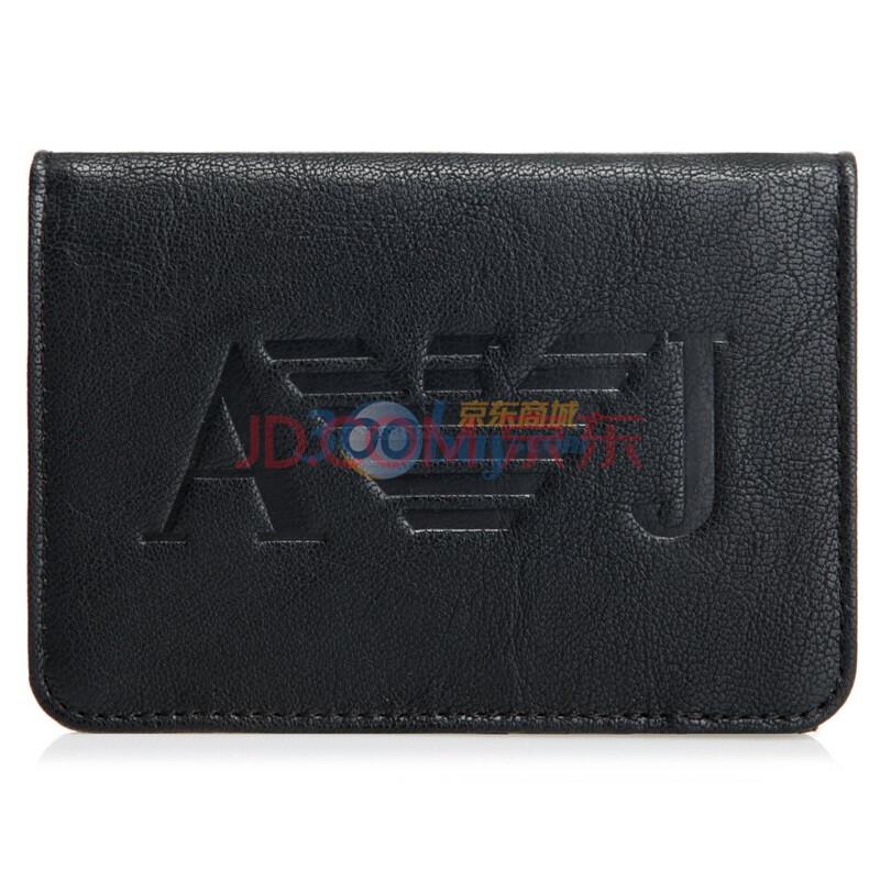 armani阿玛尼男式纯皮logo对折按扣钱包