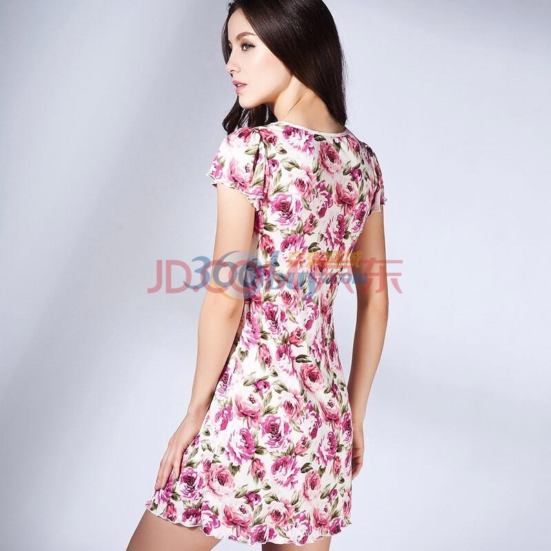 金三塔100%桑蚕真丝连衣裙 玫瑰碎花裙短袖连衣长睡裙