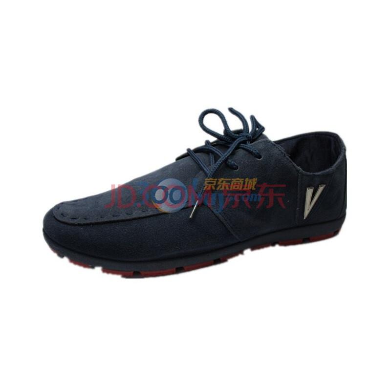 秋之北纬 布鞋 磨砂反绒低帮系带英伦韩版鞋 纯色系运动休闲防滑鞋男鞋 A19 兰色 43