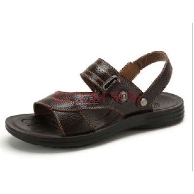 骆驼(CAMEL)真皮头层牛皮舒适休闲男款沙滩鞋 2278600 棕色 44