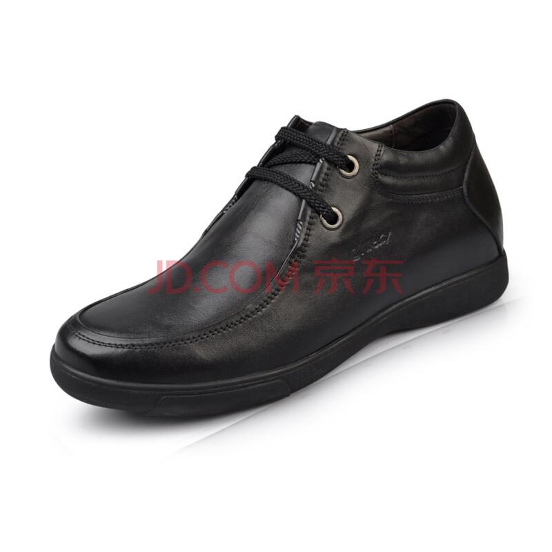 艾维基aiweky 商务鞋 休闲鞋系带内增高男鞋 L008 黑色 44