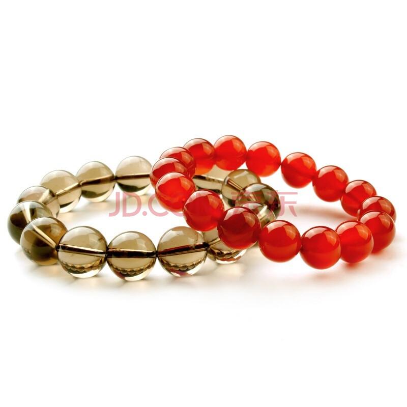 凝萃坊 天然水晶情侣系列茶晶 红玛瑙情侣手链 爱如红茶