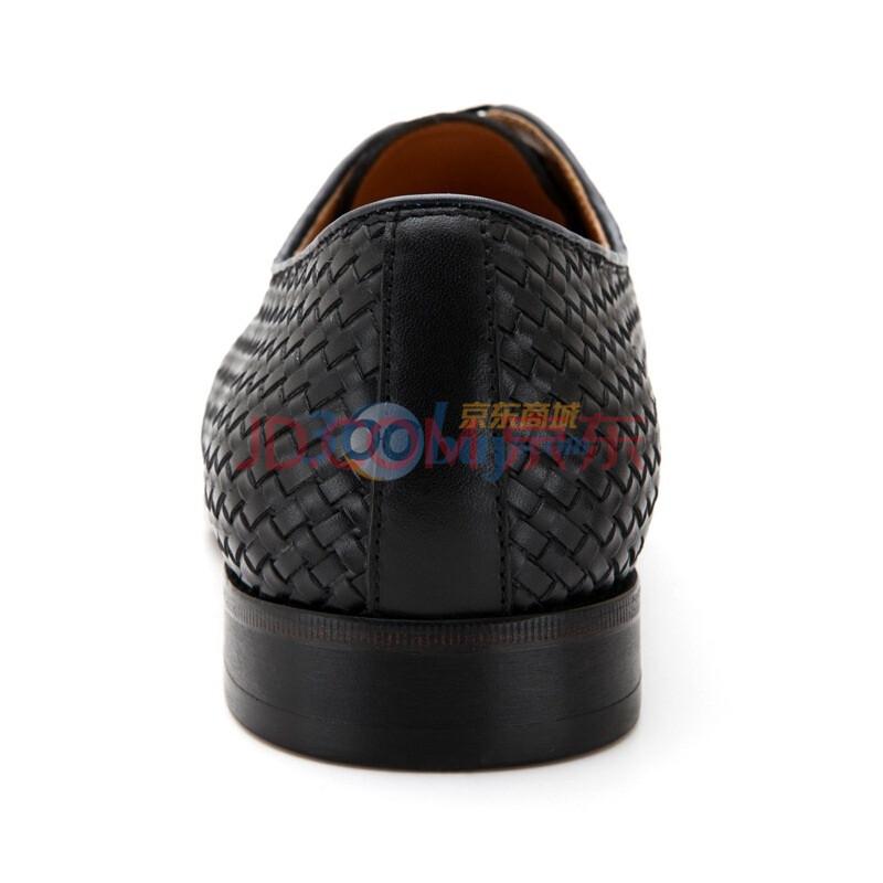 阿科登/agcatton新款进口小牛皮编织纹商务系带男鞋