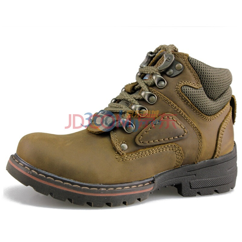 新款休闲鞋疯马牛皮女士户外高帮马丁鞋b5932棕绿35