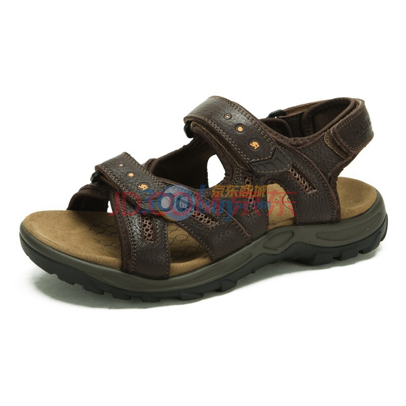 CAMEL/骆驼 夏季新款沙滩真皮头层牛皮时尚休闲男士凉鞋 2322608 棕色 44