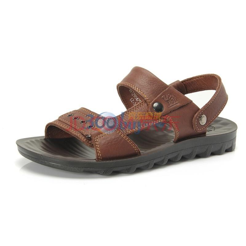 骆驼(CAMEL)新款凉鞋沙滩鞋拖鞋头层牛皮夏季新品男鞋 1290475 棕色 44