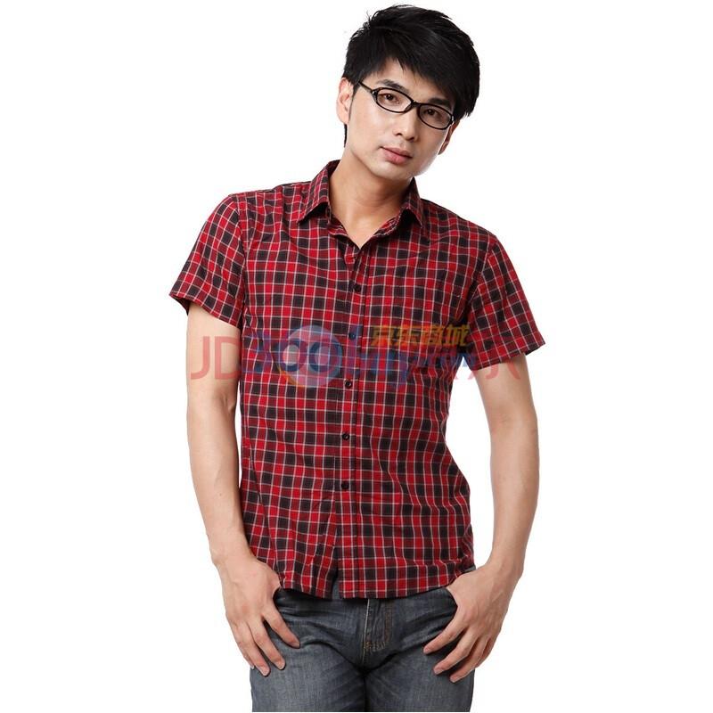 YISHION以纯 衬衫男装休闲格仔短袖衬衫 11214527