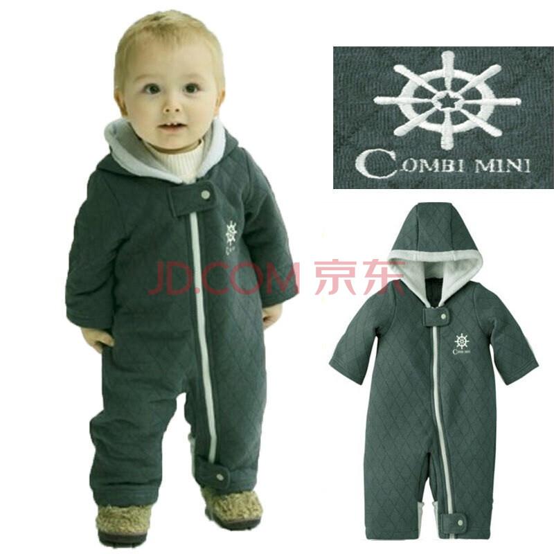 叶子宝宝 秋冬动物造型哈衣/婴儿三层夹棉爬服 绿色 100码