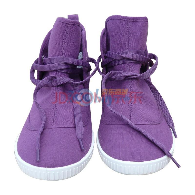 紫色厚底帆布鞋