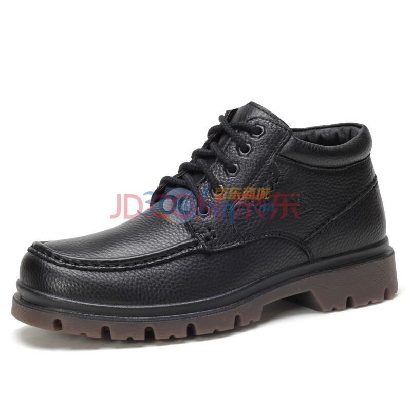 骆驼(CAMEL)男鞋 经典磨砂 牛皮商务休闲男款短靴 新款 2210009 黑色 44