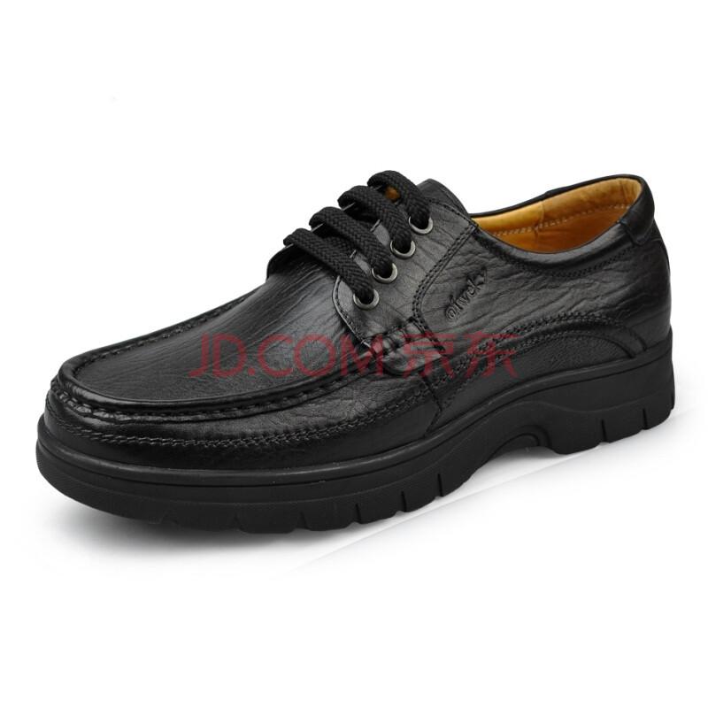 艾维基aiweky 休闲鞋 夏季新款 商务休闲换气功能系带牛皮男鞋增高鞋 L040 偏大一码 黑色 44