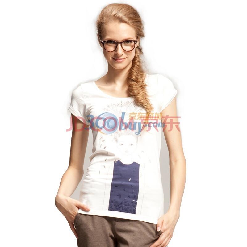 发芽树卡通女孩短袖t恤