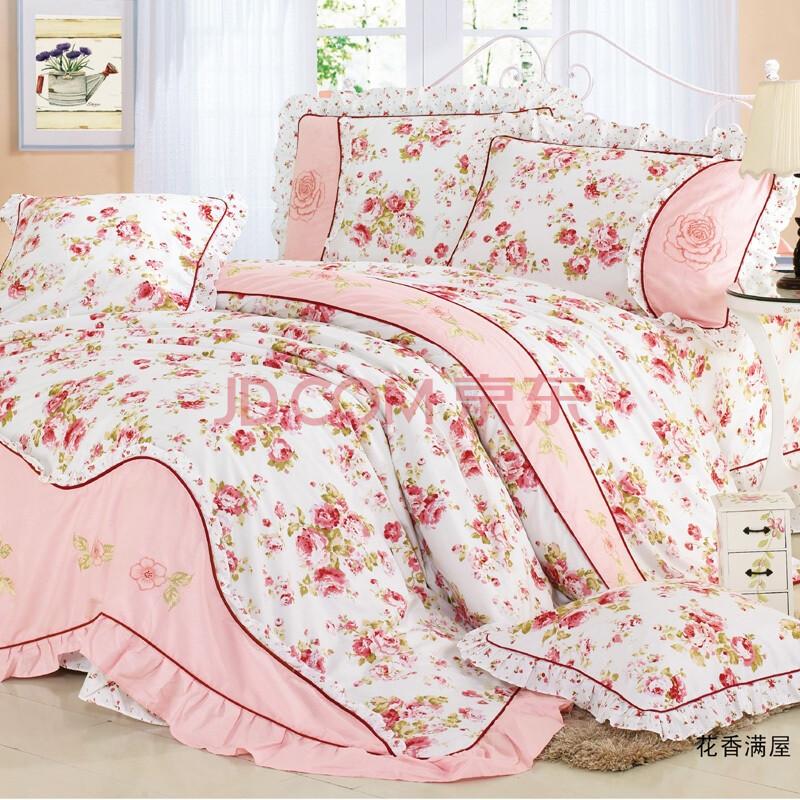 斜纹床上用品荷叶边床裙式印花加绣花图片实拍欧式床单式四件套hd33图片