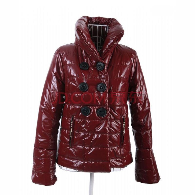 时尚团 冬装新品双排扣小喇叭袖经典款式棉衣03311 红色 xl图片