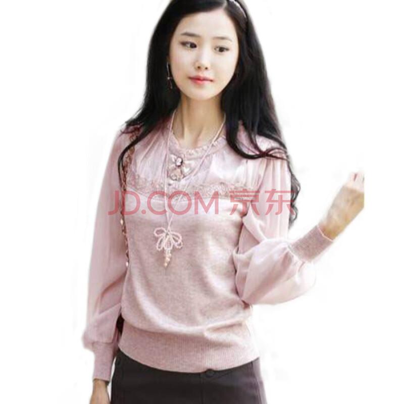 尚贵华新款秋装淑女套头圆领粉色长袖女上衣针