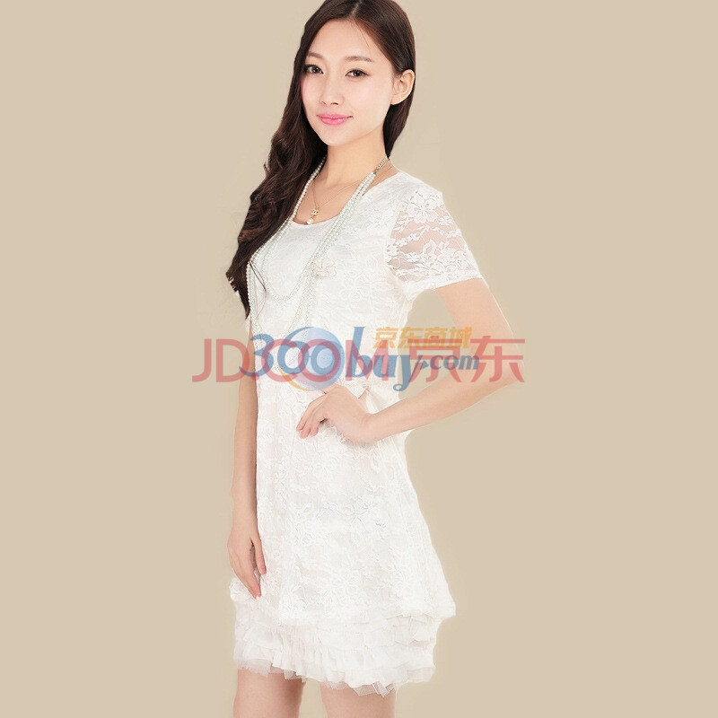 尚贵华新款女装优雅蕾丝公主裙子 短袖连衣裙2018 白色 s图片