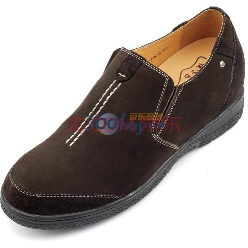 何金昌增高鞋男士休闲磨砂牛皮内增高皮鞋增高7CM 驼色 41皮鞋尺码