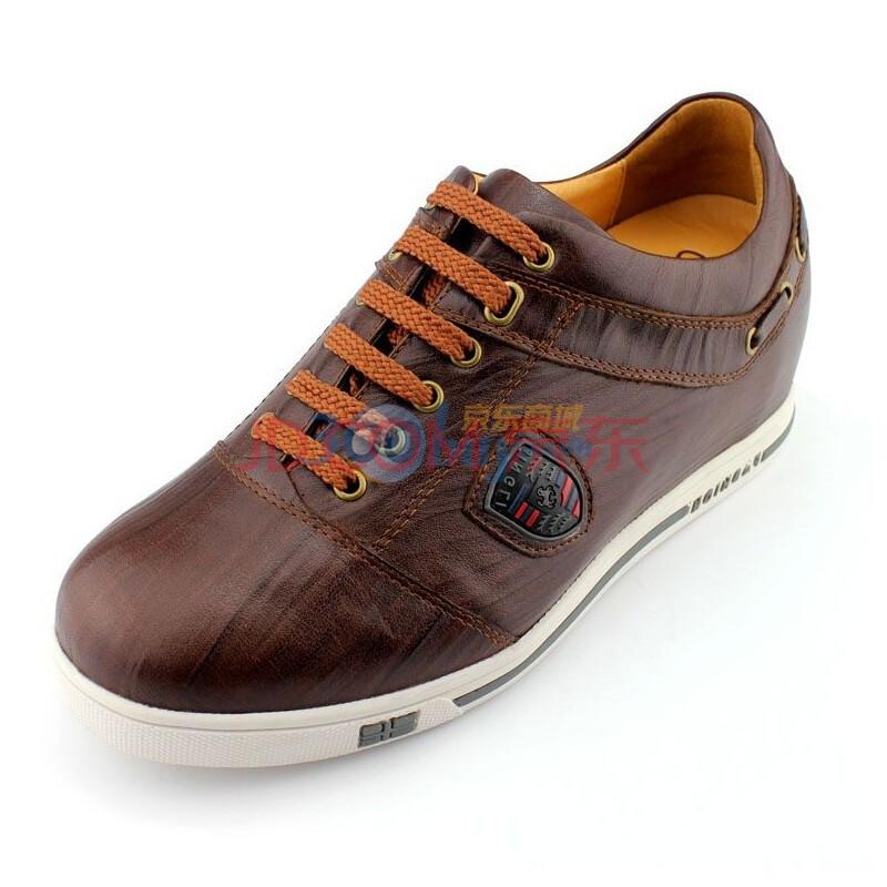 何金昌增高鞋男士内增高鞋真皮时尚滑板休闲鞋6CM 棕色-1 42皮鞋尺码