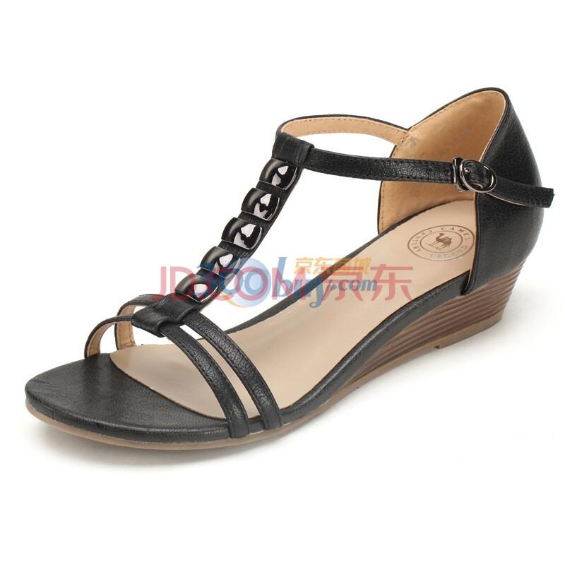 罗马鞋坡跟凉鞋_新品真皮女士坡跟凉鞋时尚休闲舒适典雅中跟 罗马鞋