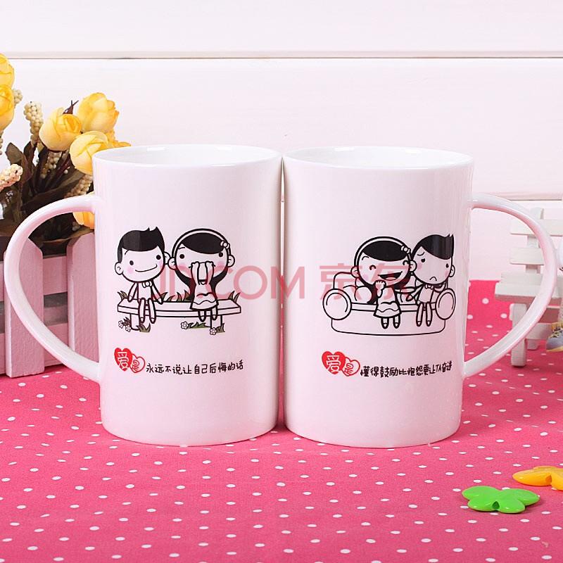 蔚然wr2-17陶瓷杯骨瓷杯马克杯水杯子创意礼物可爱卡通情侣杯结婚婚礼对杯生日礼物情人礼物特别图片