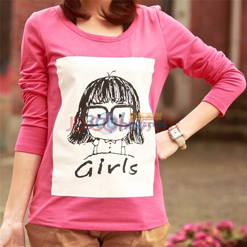 别致手绘卡通女孩图案圆领长袖短款百搭t恤