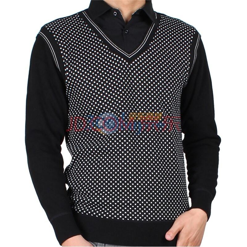 男士polo加厚保暖长袖衬衫上衣e12357