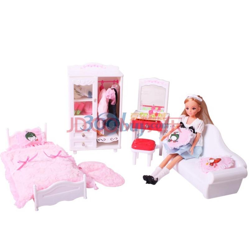 过家家玩具 梦幻房间芭比娃娃h21b 儿童场景玩具套装
