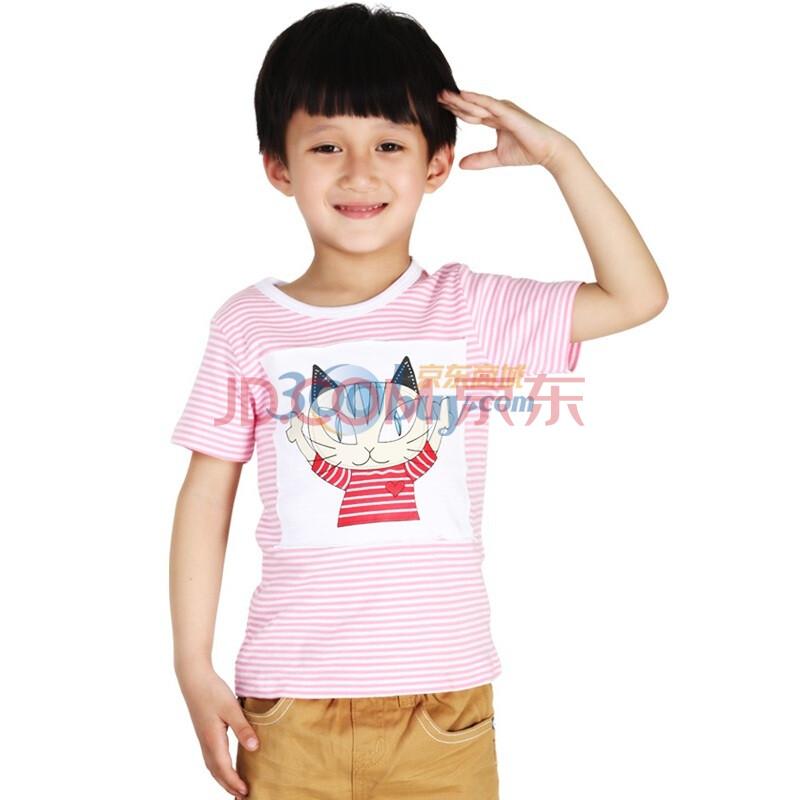 童装 宅猫短袖T恤 男童条纹T恤 短袖T恤 110图片