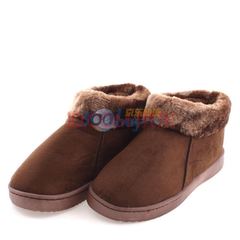 好宜购 冬季蝴蝶结居家超柔毛绒保暖棉拖鞋 男女情侣包跟保暖棉鞋 咖啡色 42/43