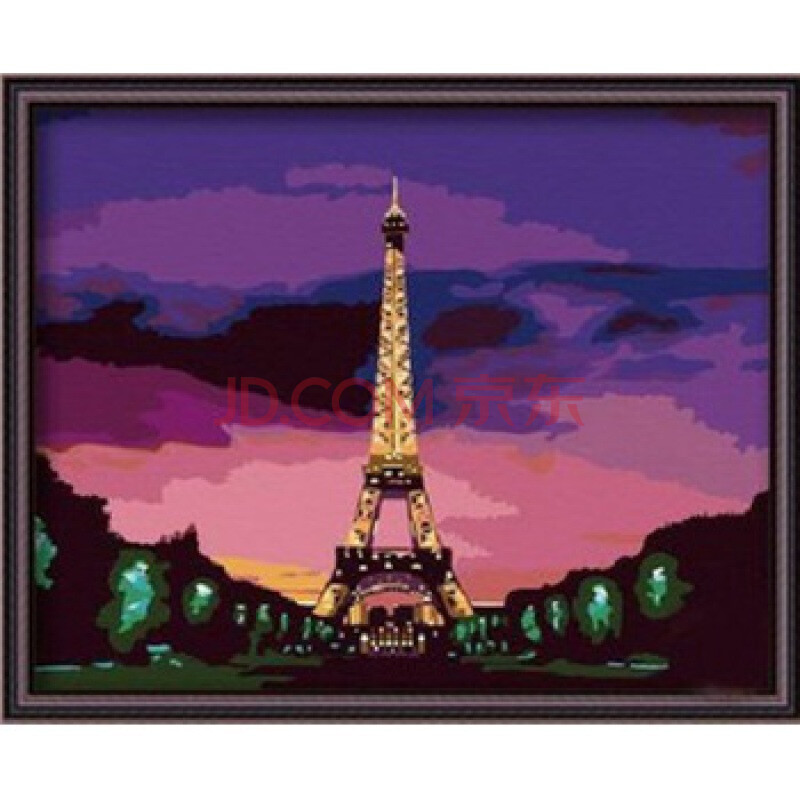 迷你数字油画 diy手绘油画 数字画 埃菲尔铁塔 40*50cm