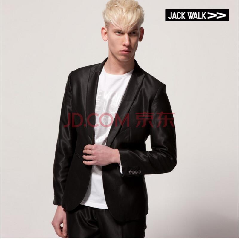 jackwalk多分割设计一粒扣单开叉西服e0103002 黑色 xxl