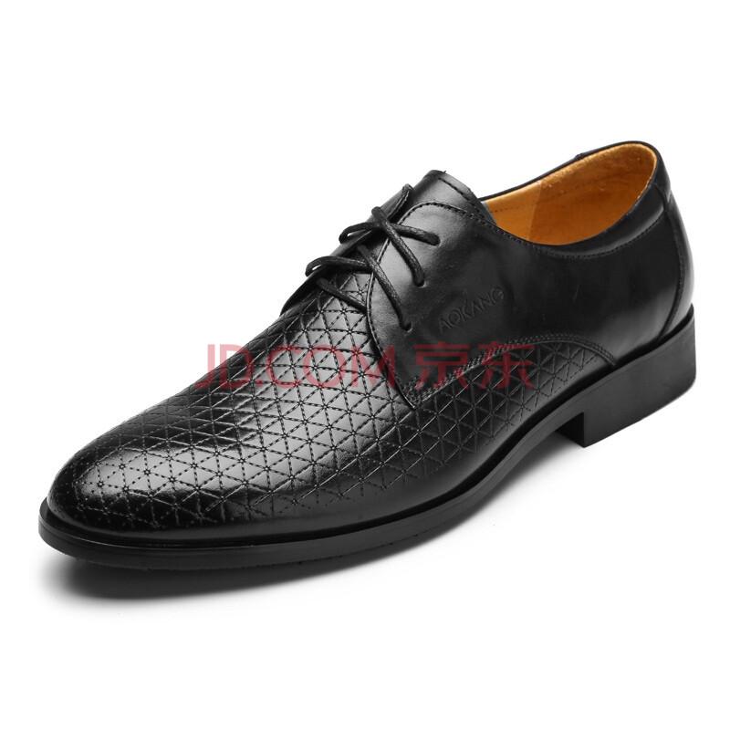 奥康(Aokang) 商务正装男鞋希腊压花真皮鞋 123111018 19 黑色 43