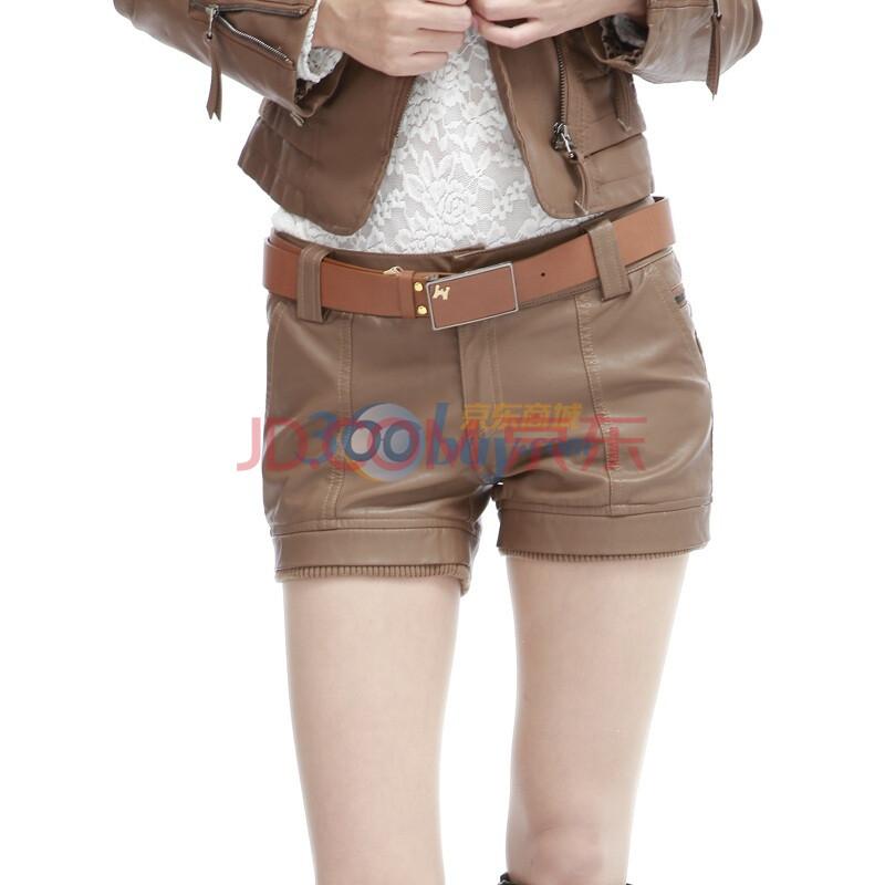 011秋冬新款女装显瘦性感皮短裤限量送腰带12 101卡其色XL图片