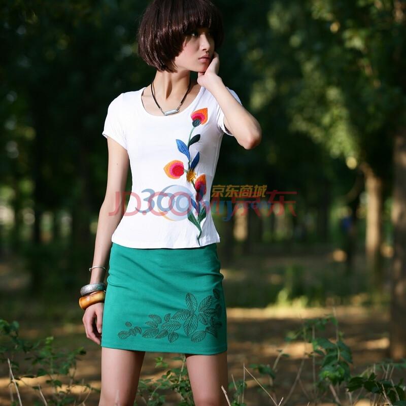 2011新 单线绣花 打鸡布 小短裙 半身裙 4677图片