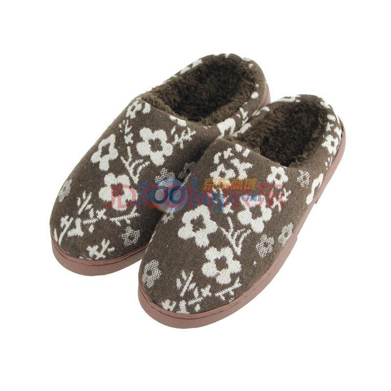 redtop瑞淘冬季新款女士拖鞋帮面绣针织梅花保暖舒适
