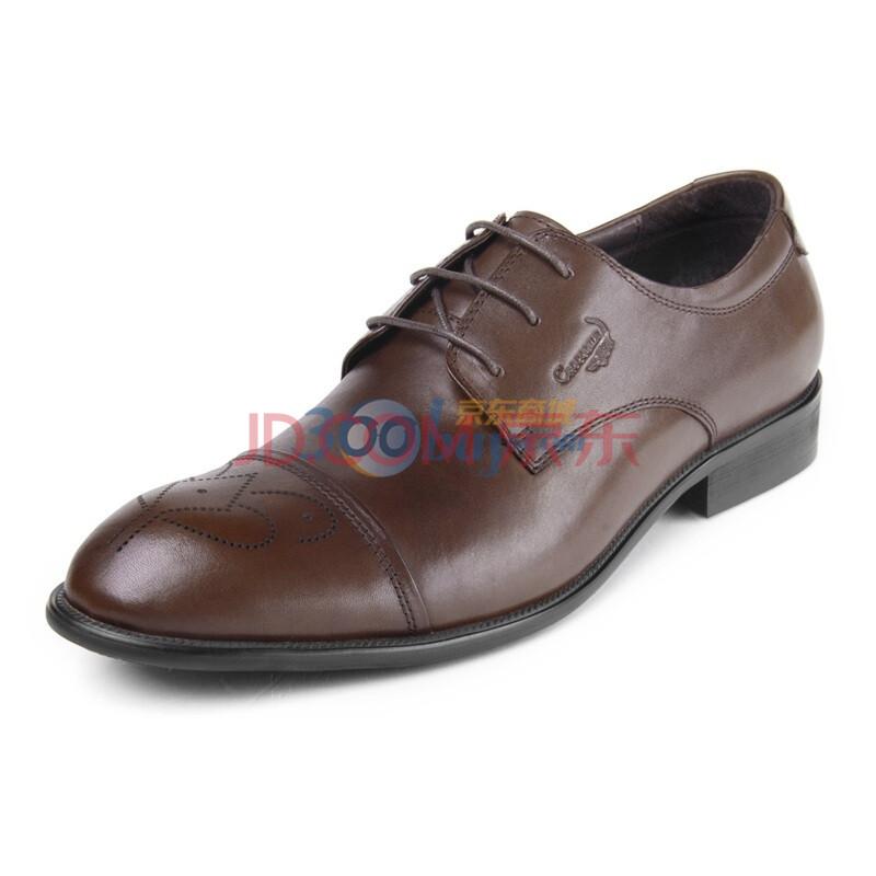 鳄鱼恤(CROCODILE)舒适男单鞋头层牛皮高档商务正装皮鞋1349052 棕色 44