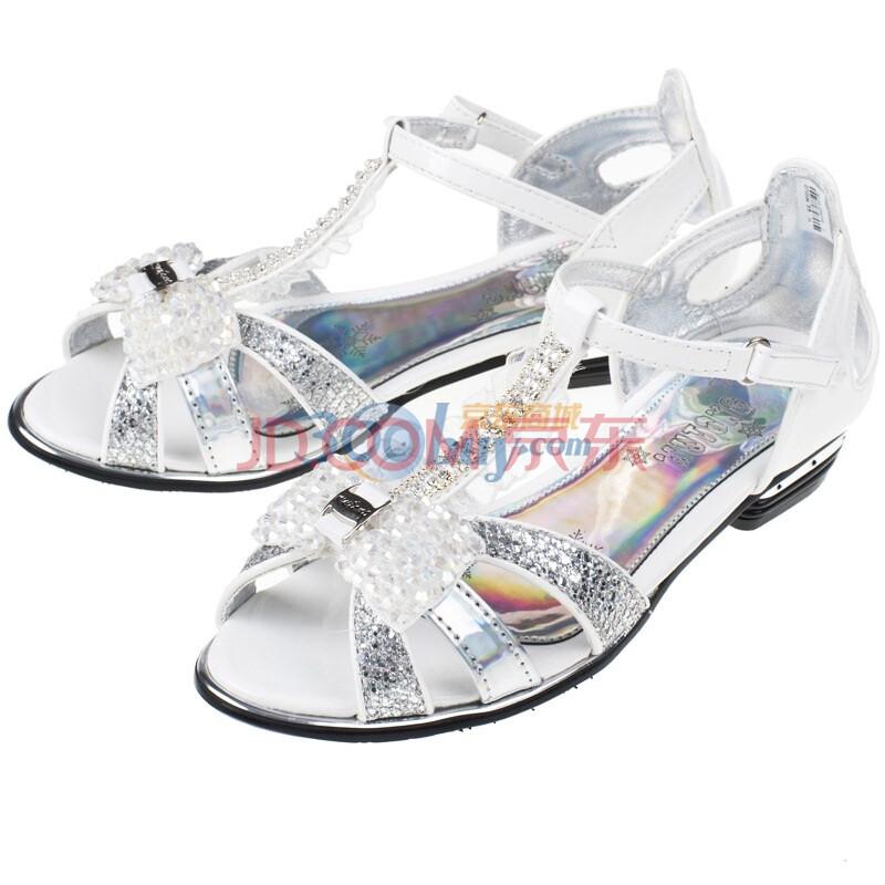 时尚镶钻女童凉鞋 儿童皮凉鞋