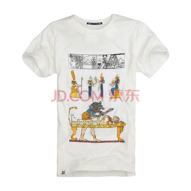 品 新款男夏装埃及法老王贴布印花短袖T恤 12TX34图片