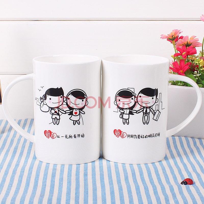 蔚然WR2-09陶瓷杯骨瓷杯马克杯水杯子创意礼物可爱卡通情侣杯结婚婚礼对杯老公老婆生日礼物浪漫图片
