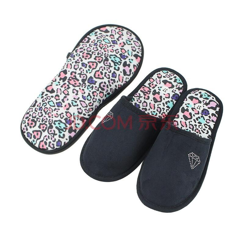 RedTop瑞淘新款女士旅行拖鞋时尚蝴蝶结防滑舒适黑色棉拖鞋YZST020 黑色 37