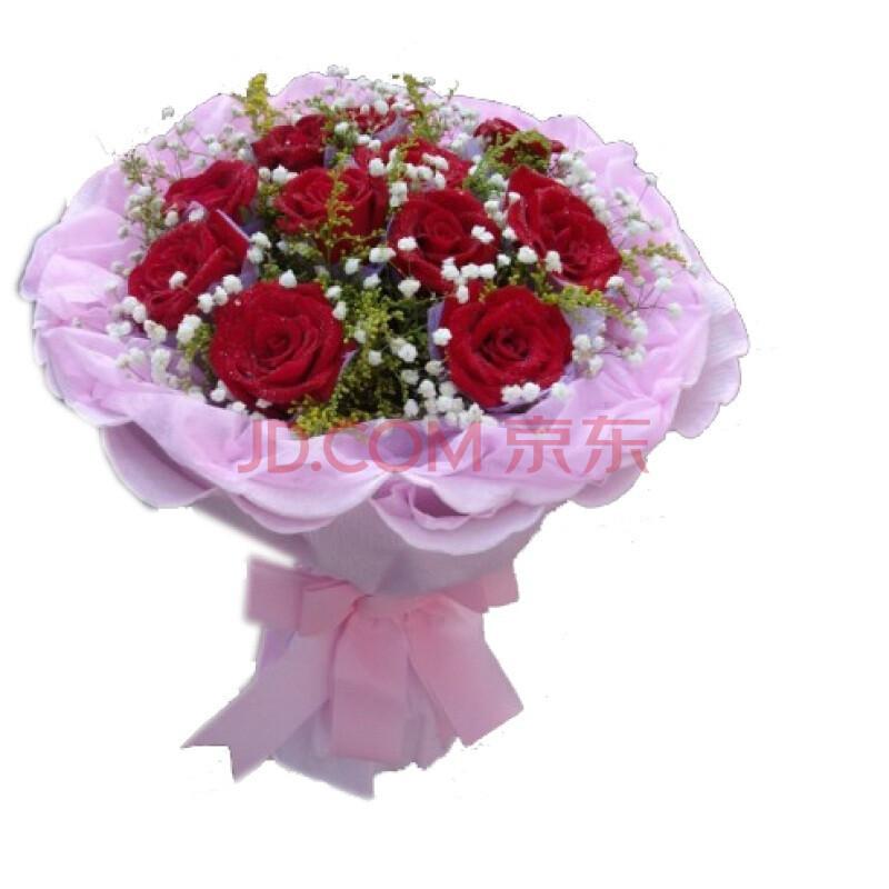 鲜花 11枝红玫瑰 黄莺满天星搭配图片图片
