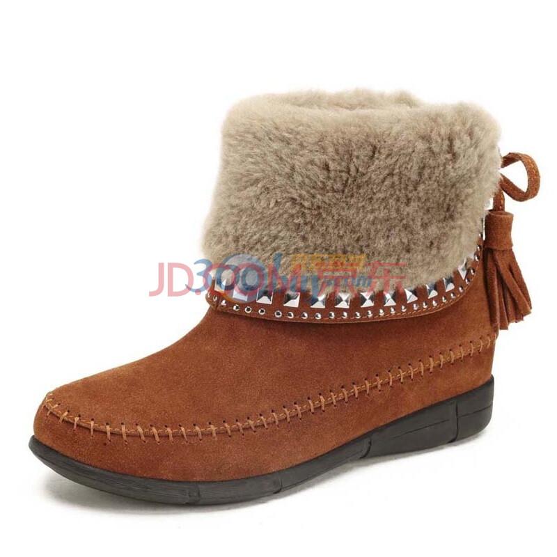 骆驼(CAMEL) 2013年真皮磨砂牛皮中筒女款短靴子时尚保暖羊绒靴 1053003 棕色 40